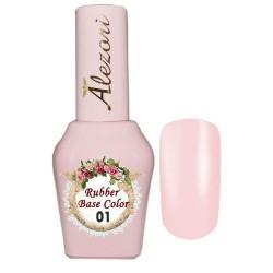 Ημιμόνιμο Βερνίκι Alezori Rubber Base Uv/Led color 01 baby pink 15ml