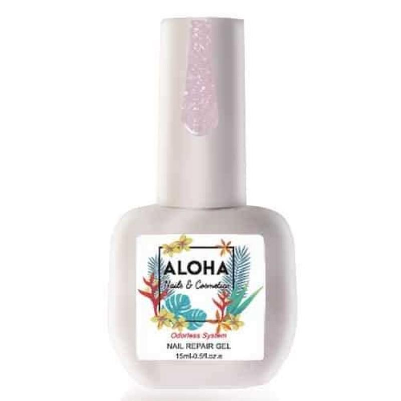Θεραπεία Ημιμόνιμου Με Πρωτεΐνες & Χρώμα Aloha Nail Repair Gel Sparkling Milky Lilac 15ml