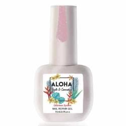 Θεραπεία Ημιμόνιμου Με Πρωτεΐνες & Χρώμα Aloha Nail Repair Gel Sparkling Cover Pink 15ml