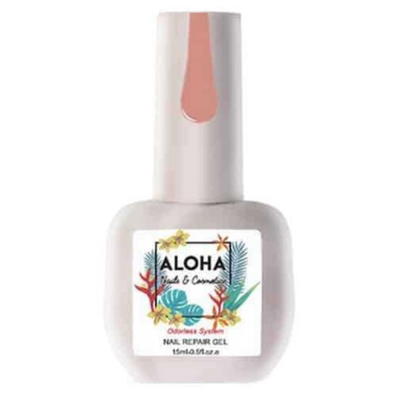 Θεραπεία Ημιμόνιμου Με Πρωτεΐνες & Χρώμα Aloha Nail Repair Gel Dark Nude 15ml