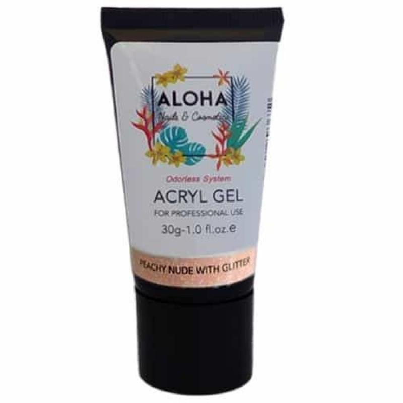 Aloha Acrylgel Peachy Nude with Glitter (Ροδακινί με Glitter) 30gr