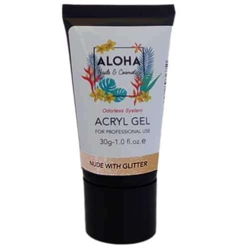 Aloha Acrylgel Nude with Glitter (Nude με Glitter) 30gr