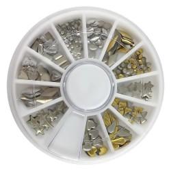 Καρουσέλ 6cm με διακοσμητικά στρας νυχιών - 12 σχέδια (31941)
