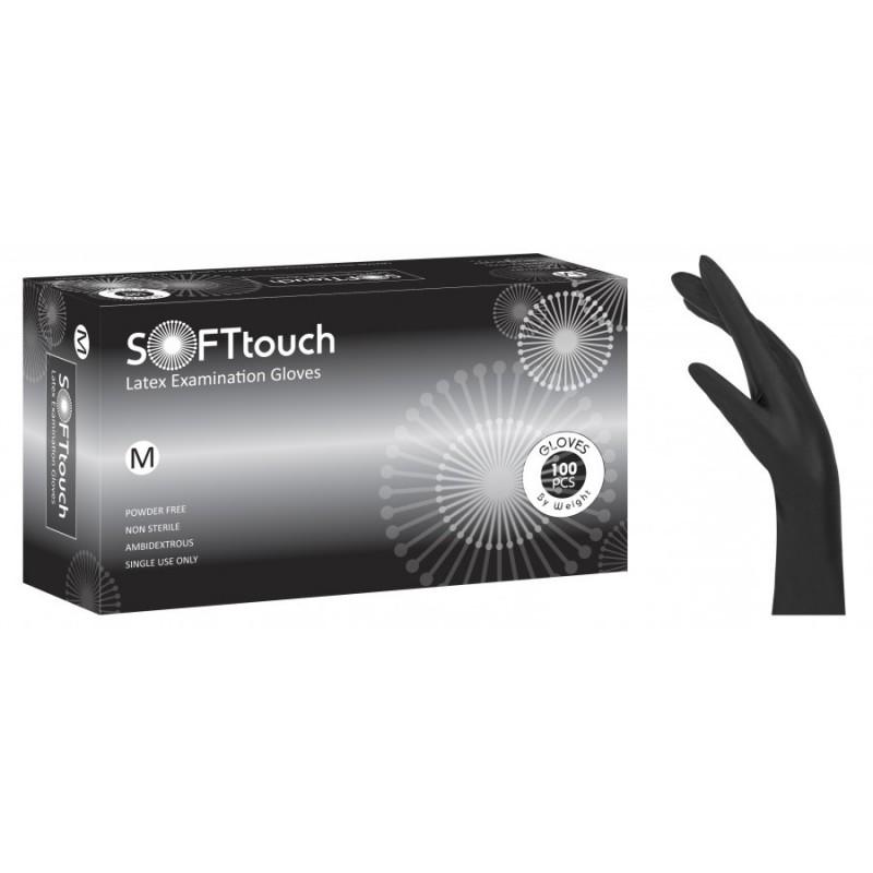 Sof Γάντια Latex Μαύρα Χωρίς Πούδρα 100 τμχ. (110.204)