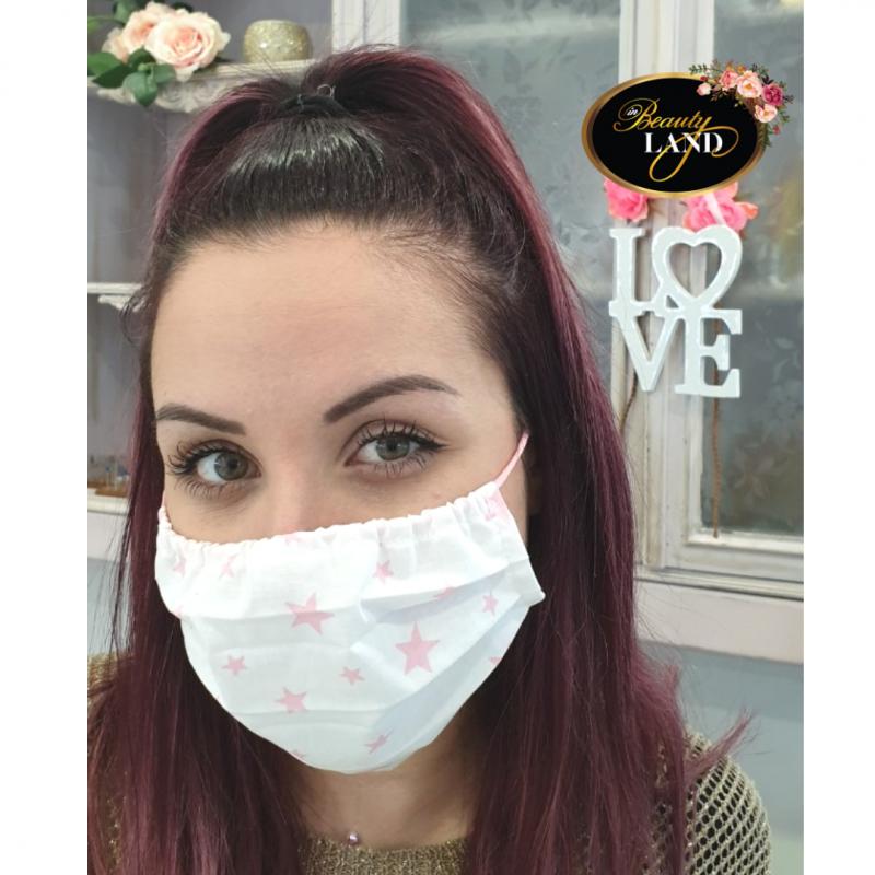 Μάσκα Πολλαπλών Χρήσεων Βαμβακερή 100% Με Ροζ Αστέρια