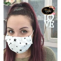 Μάσκα Πολλαπλών Χρήσεων Βαμβακερή 100% Με Σκούρα Μπλε Αστέρια