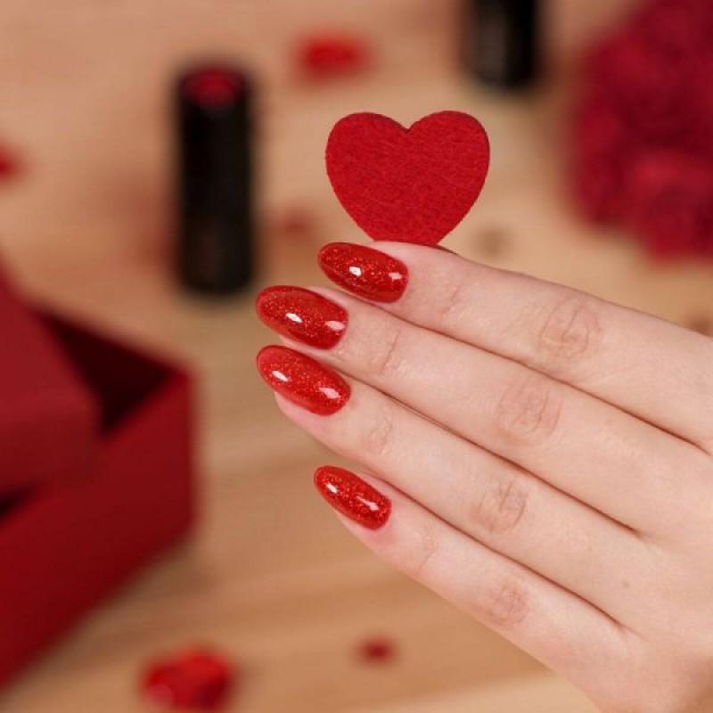 Ημιμόνιμο Βερνίκι Νυχιών- Μανό Semilac 346 Chic Red Glitter 7ml
