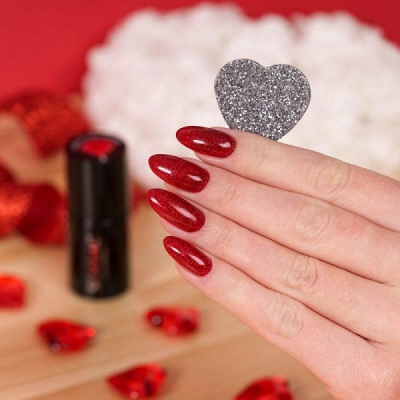Ημιμόνιμο Βερνίκι Νυχιών- Μανό Semilac 347 Pretty Red Glitter 7ml