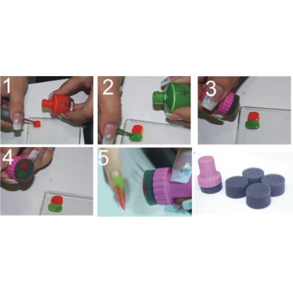 Nail art sponge for ombre style
